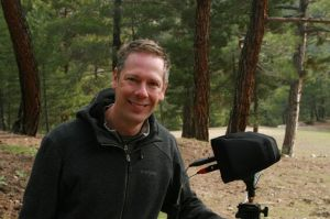 Andrew Skeoch on location with sound recording gear