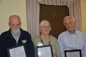 Ern, Rita and George (L to R) with their framed Life Membership certificates